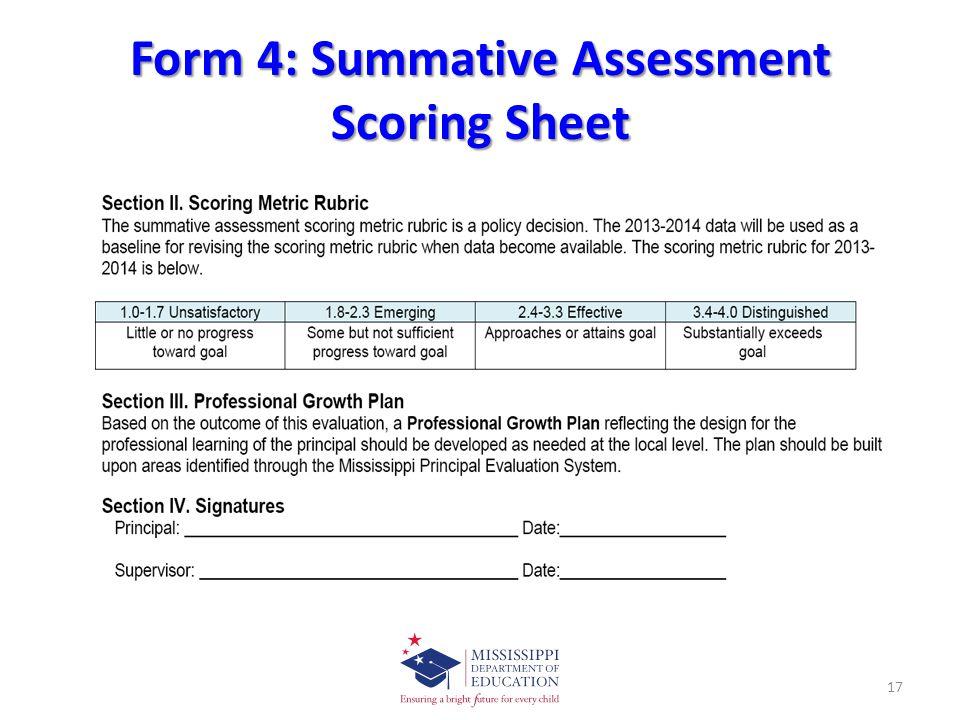 Form 4: Summative Assessment Scoring Sheet 17