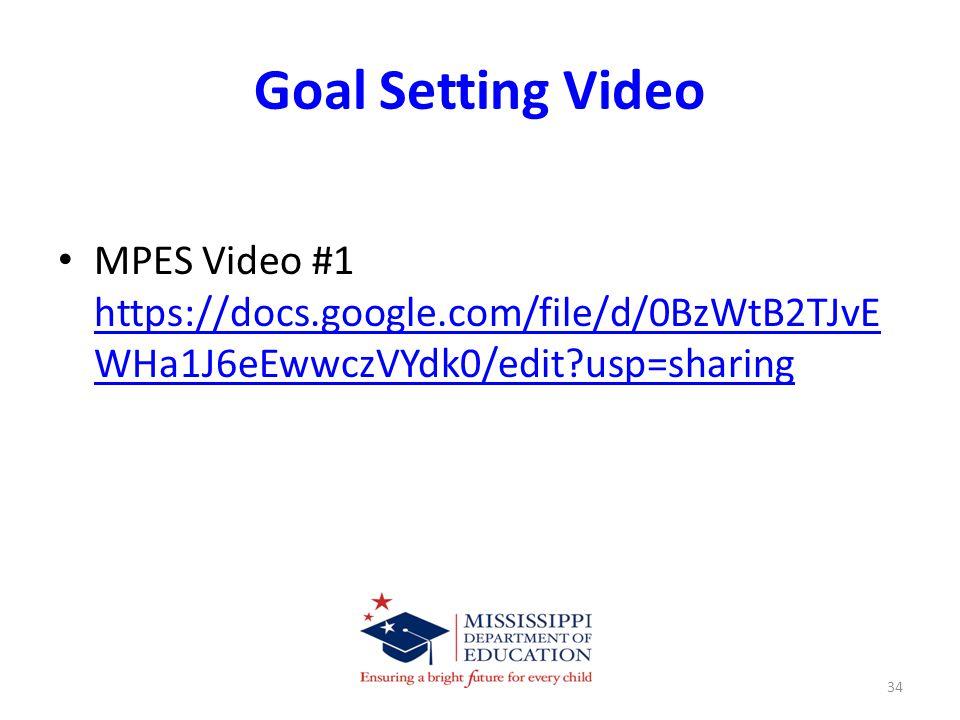 Goal Setting Video MPES Video #1 https://docs.google.com/file/d/0BzWtB2TJvE WHa1J6eEwwczVYdk0/edit usp=sharing https://docs.google.com/file/d/0BzWtB2TJvE WHa1J6eEwwczVYdk0/edit usp=sharing 34
