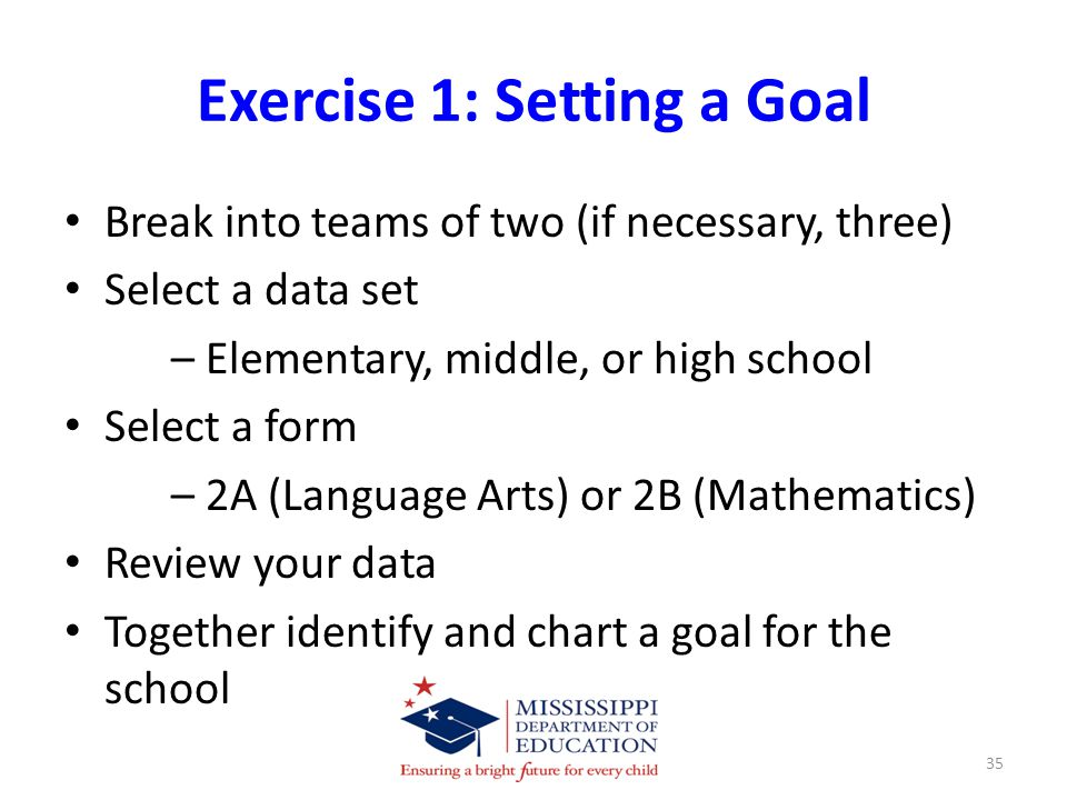 Exercise 1: Setting a Goal Break into teams of two (if necessary, three) Select a data set – Elementary, middle, or high school Select a form – 2A (Language Arts) or 2B (Mathematics) Review your data Together identify and chart a goal for the school 35