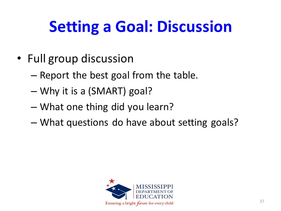 Setting a Goal: Discussion Full group discussion – Report the best goal from the table.