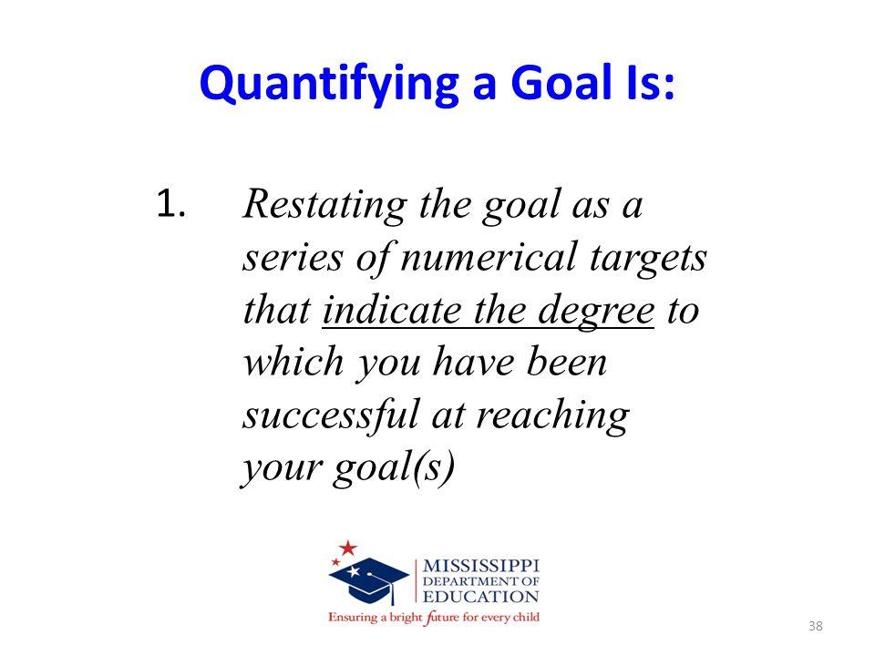Quantifying a Goal Is: 1.