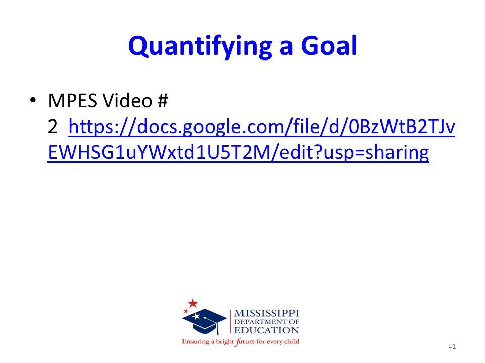 Quantifying a Goal MPES Video # 2 https://docs.google.com/file/d/0BzWtB2TJv EWHSG1uYWxtd1U5T2M/edit usp=sharinghttps://docs.google.com/file/d/0BzWtB2TJv EWHSG1uYWxtd1U5T2M/edit usp=sharing 41