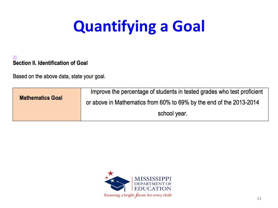 Quantifying a Goal 44