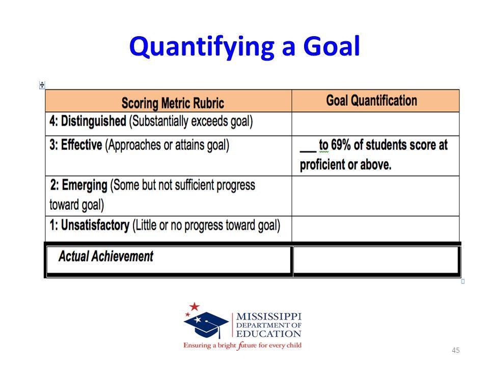 Quantifying a Goal 45