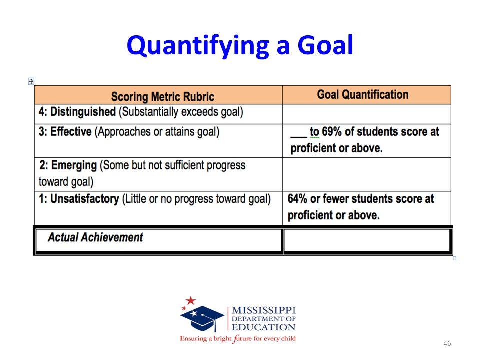Quantifying a Goal 46
