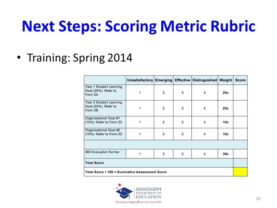 Next Steps: Scoring Metric Rubric Training: Spring 2014 56