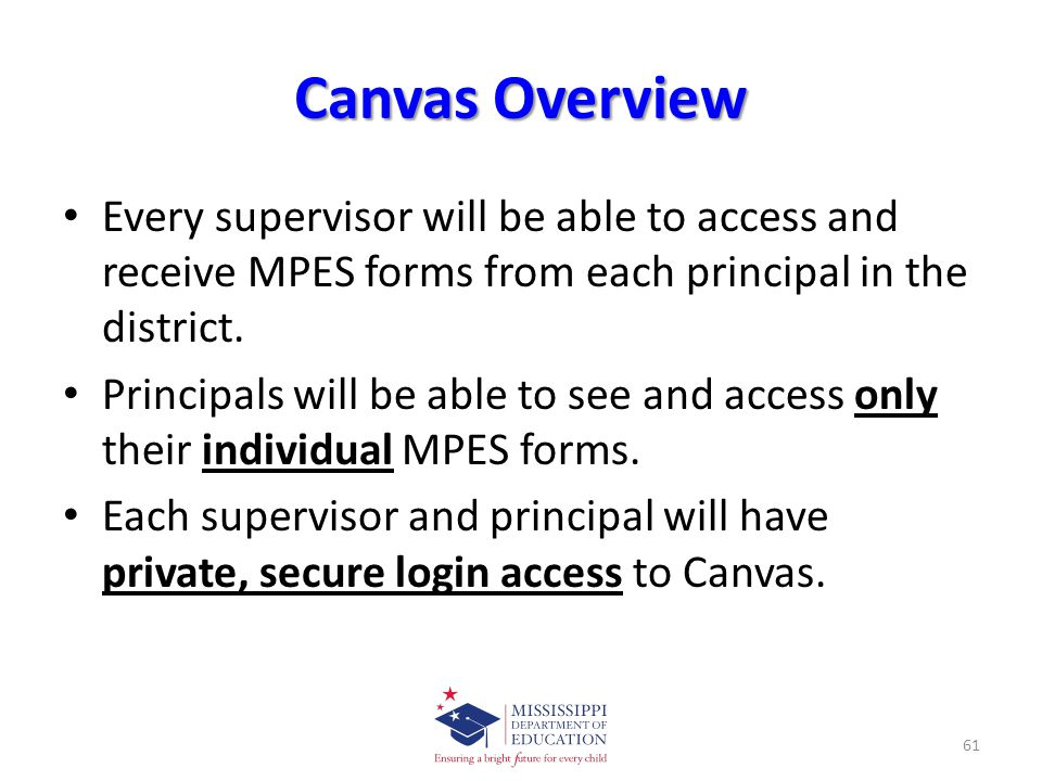 Canvas Overview Every supervisor will be able to access and receive MPES forms from each principal in the district.