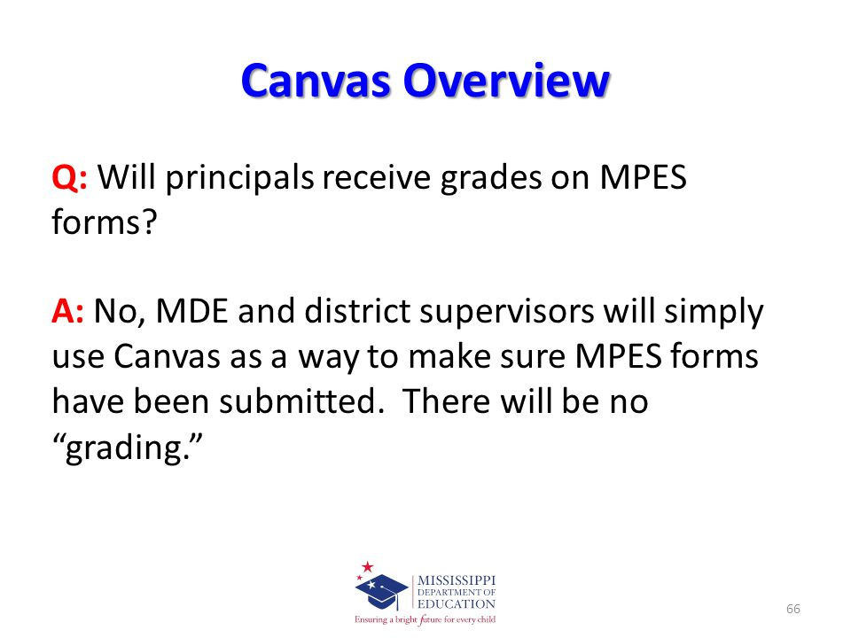 Canvas Overview Q: Will principals receive grades on MPES forms.