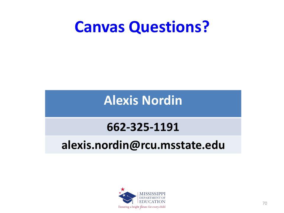 Canvas Questions Alexis Nordin 662-325-1191 alexis.nordin@rcu.msstate.edu 70
