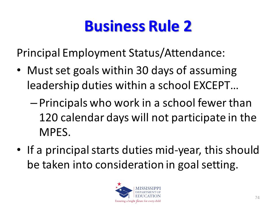 Business Rule 2 Principal Employment Status/Attendance: Must set goals within 30 days of assuming leadership duties within a school EXCEPT… – Principals who work in a school fewer than 120 calendar days will not participate in the MPES.