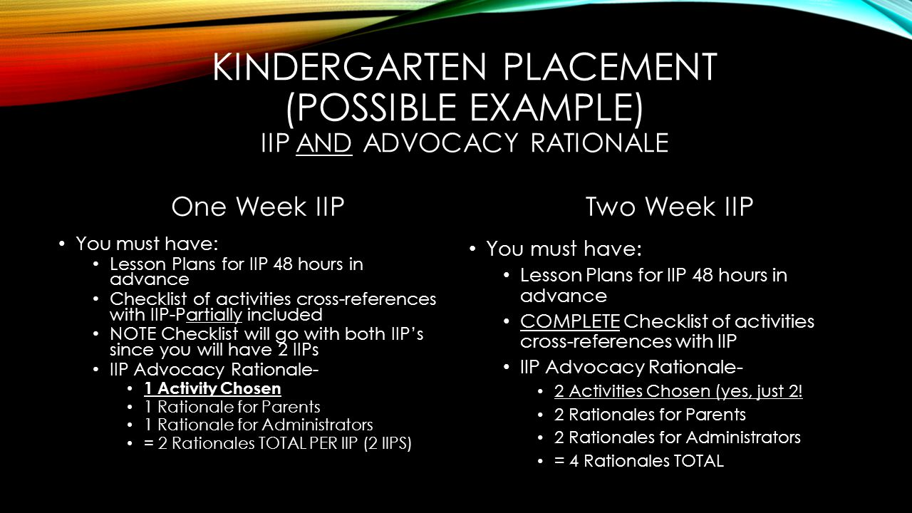 KINDERGARTEN PLACEMENT (POSSIBLE EXAMPLE) IIP AND ADVOCACY RATIONALE One Week IIP You must have: Lesson Plans for IIP 48 hours in advance Checklist of activities cross-references with IIP-Partially included NOTE Checklist will go with both IIP's since you will have 2 IIPs IIP Advocacy Rationale- 1 Activity Chosen 1 Rationale for Parents 1 Rationale for Administrators = 2 Rationales TOTAL PER IIP (2 IIPS) Two Week IIP You must have: Lesson Plans for IIP 48 hours in advance COMPLETE Checklist of activities cross-references with IIP IIP Advocacy Rationale- 2 Activities Chosen (yes, just 2.