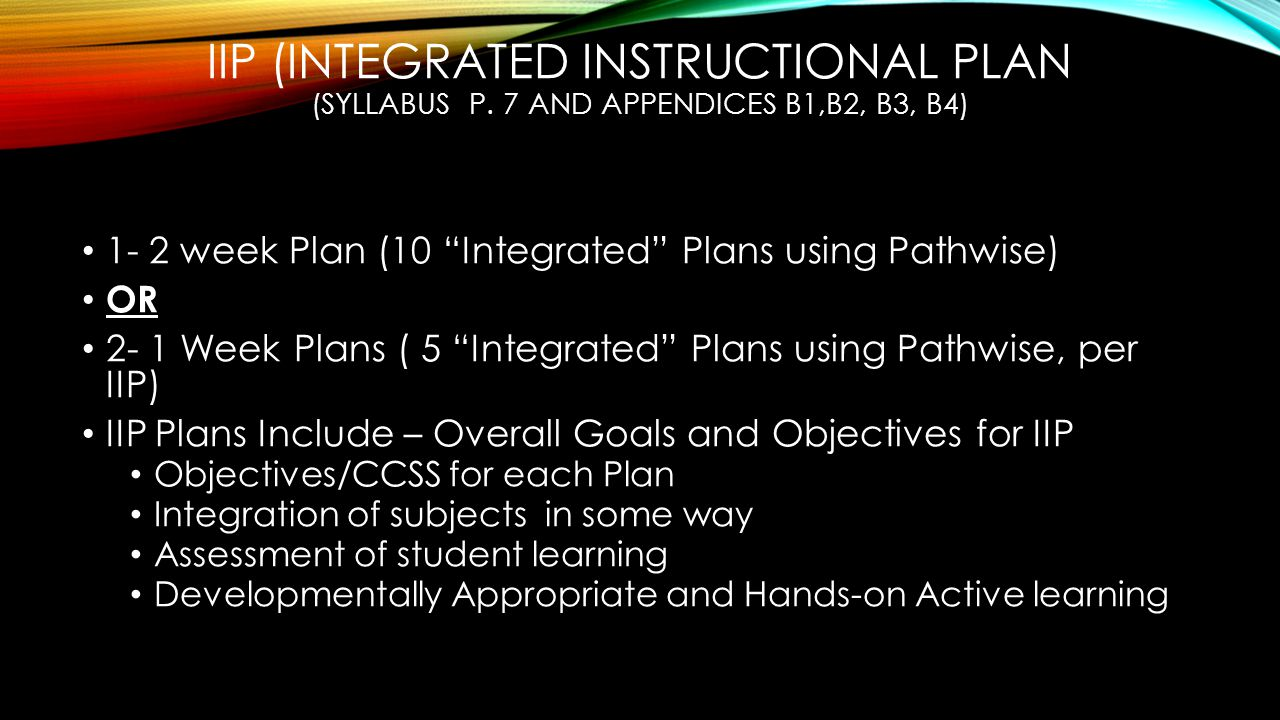 IIP (INTEGRATED INSTRUCTIONAL PLAN (SYLLABUS P.