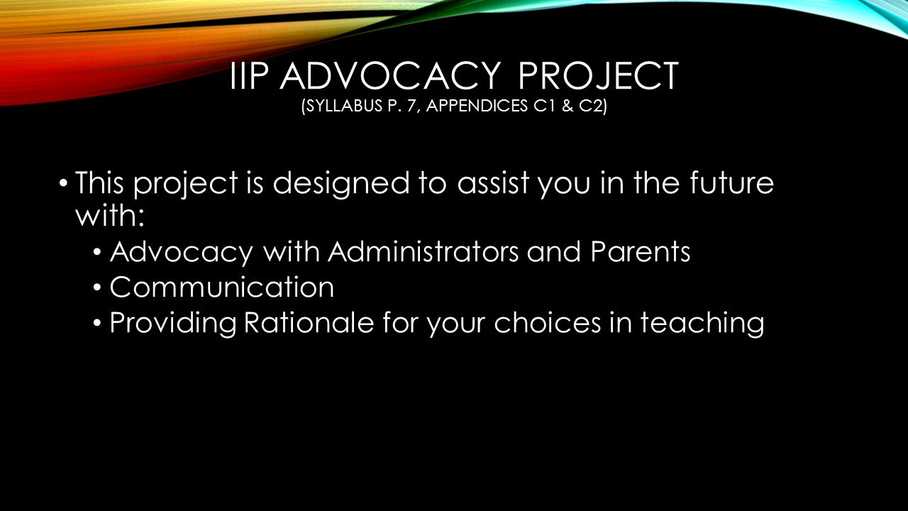 IIP ADVOCACY PROJECT (SYLLABUS P.