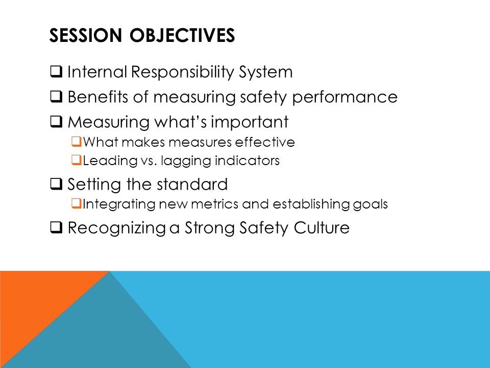 SESSION OBJECTIVES  Internal Responsibility System  Benefits of measuring safety performance  Measuring what's important  What makes measures effe