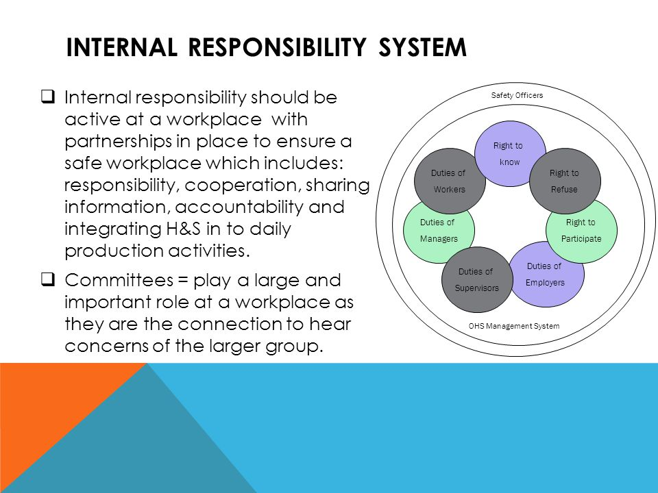 INTERNAL RESPONSIBILITY SYSTEM  Supervisors = provide leadership in controlling hazards, training, monitoring to ensure compliance on their line and ensure implementation of policies on the floor, inspections, and report unsolvable issues.