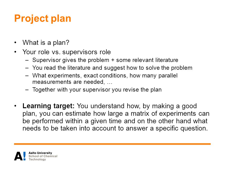 Project plan What is a plan. Your role vs.