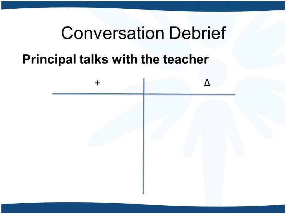 Conversation Debrief Principal talks with the teacher +∆