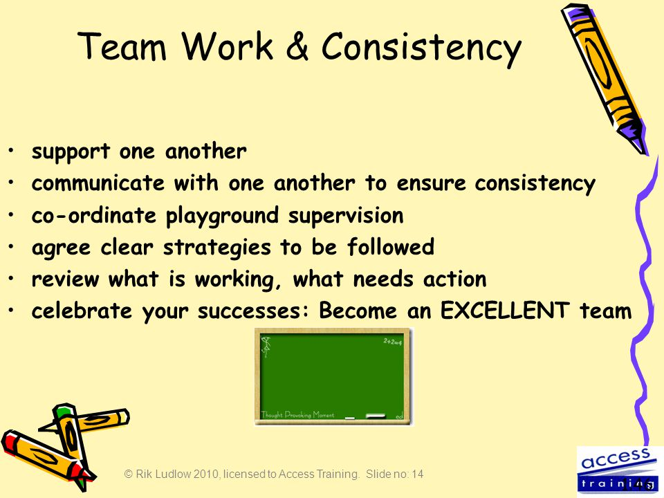 © Rik Ludlow 2010, licensed to Access Training. Slide no: 14 Team Work & Consistency support one another communicate with one another to ensure consis