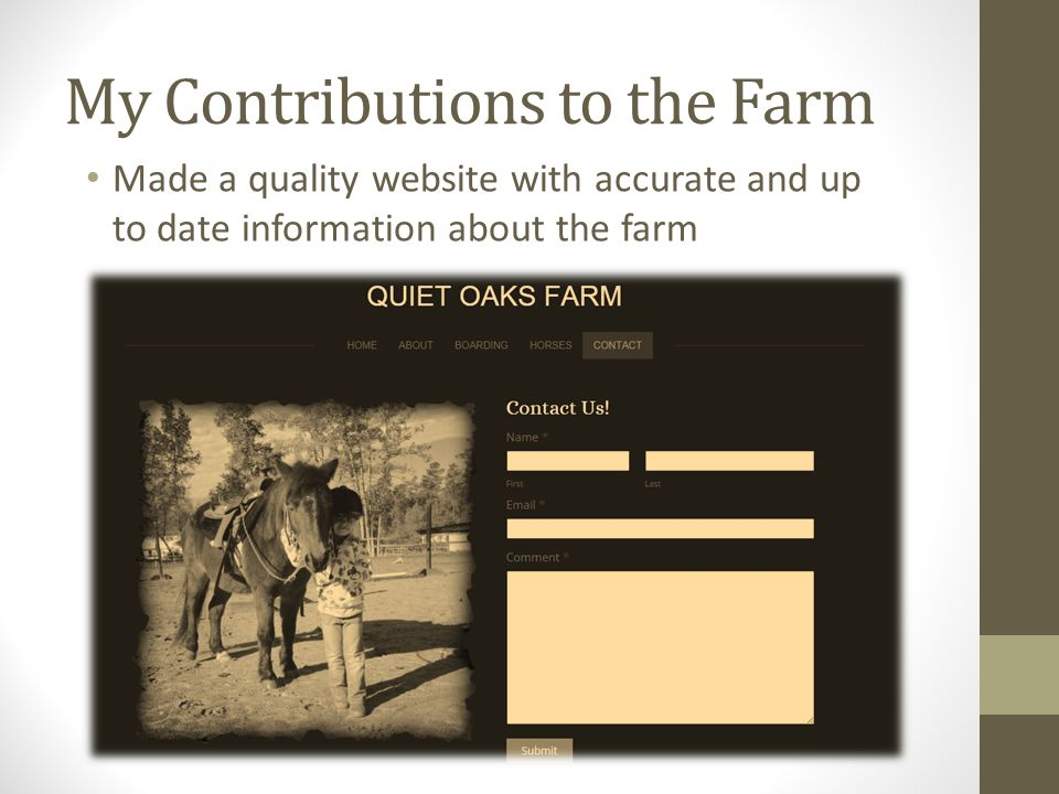 My Contributions to the Farm Made a quality website with accurate and up to date information about the farm