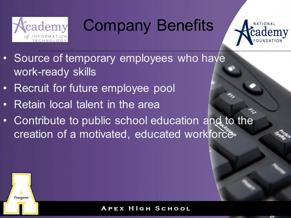 Page 17 A p e x H I g h S c h o o l Company Benefits Source of temporary employees who have work-ready skills Recruit for future employee pool Retain local talent in the area Contribute to public school education and to the creation of a motivated, educated workforce