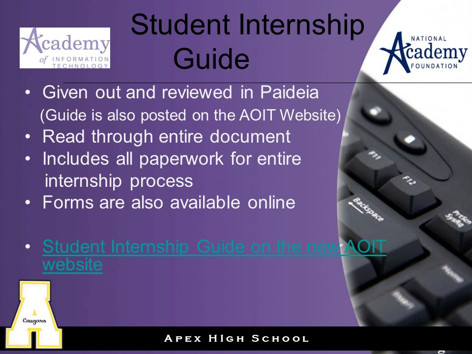 Page 24 A p e x H I g h S c h o o l Student Internship Guide Given out and reviewed in Paideia (Guide is also posted on the AOIT Website) Read through entire document Includes all paperwork for entire internship process Forms are also available online Student Internship Guide on the new AOIT websiteStudent Internship Guide on the new AOIT website