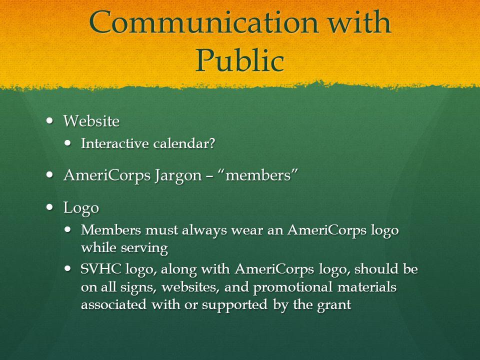 Communication with Public Website Website Interactive calendar.