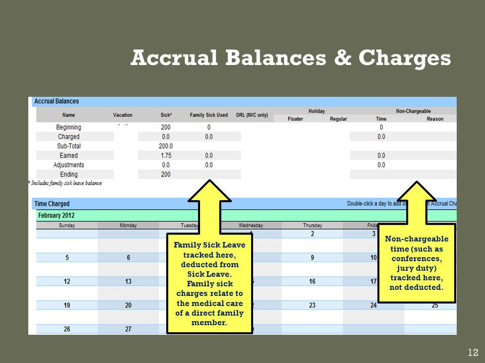 Accrual Balances & Charges 12 Family Sick Leave tracked here, deducted from Sick Leave.
