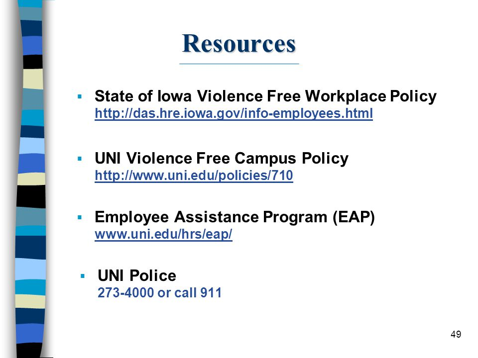 49 Resources  State of Iowa Violence Free Workplace Policy http://das.hre.iowa.gov/info-employees.html  UNI Violence Free Campus Policy http://www.u