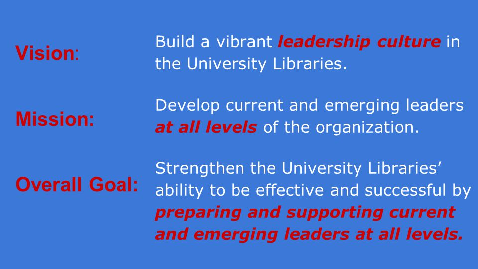 Vision: Mission: Overall Goal: Build a vibrant leadership culture in the University Libraries.