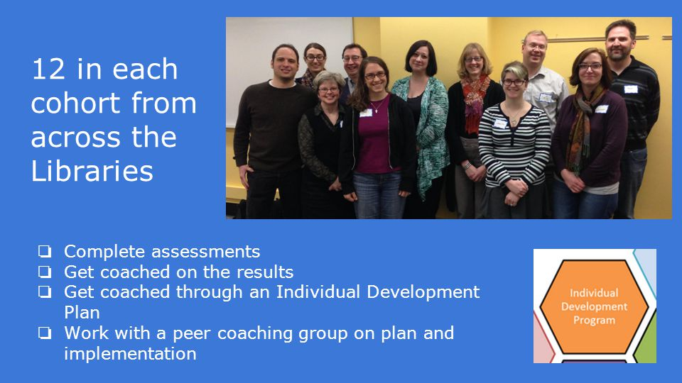 12 in each cohort from across the Libraries ❏ Complete assessments ❏ Get coached on the results ❏ Get coached through an Individual Development Plan ❏ Work with a peer coaching group on plan and implementation