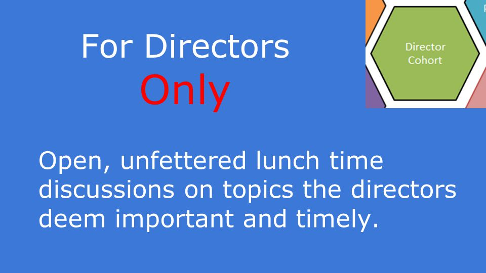 For Directors Only Open, unfettered lunch time discussions on topics the directors deem important and timely.