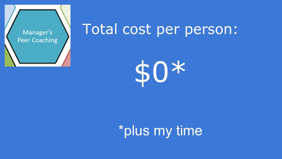 Total cost per person: $0* *plus my time
