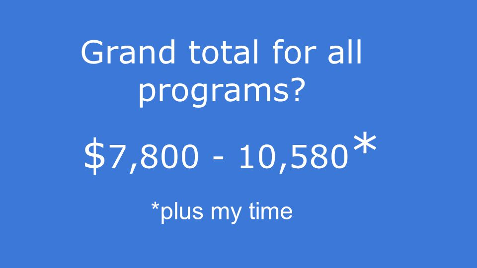 Grand total for all programs *plus my time $ 7,800 - 10,580 *