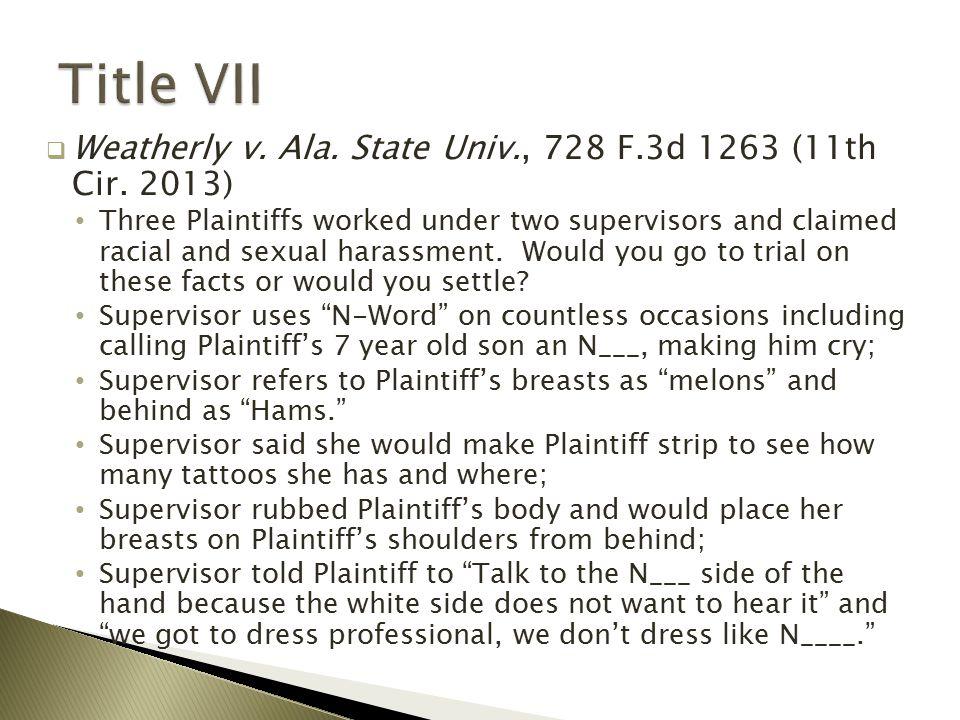  Weatherly v. Ala. State Univ., 728 F.3d 1263 (11th Cir.
