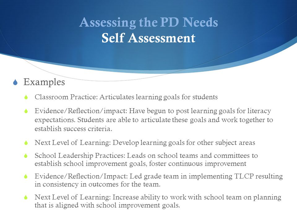 Assessing the PD Needs Self Assessment  Examples  Classroom Practice: Articulates learning goals for students  Evidence/Reflection/impact: Have begun to post learning goals for literacy expectations.