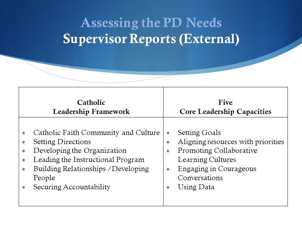 Assessing the PD Needs Supervisor Reports (External) Catholic Leadership Framework Five Core Leadership Capacities  Catholic Faith Community and Culture  Setting Directions  Developing the Organization  Leading the Instructional Program  Building Relationships /Developing People  Securing Accountability  Setting Goals  Aligning resources with priorities  Promoting Collaborative Learning Cultures  Engaging in Courageous Conversations  Using Data
