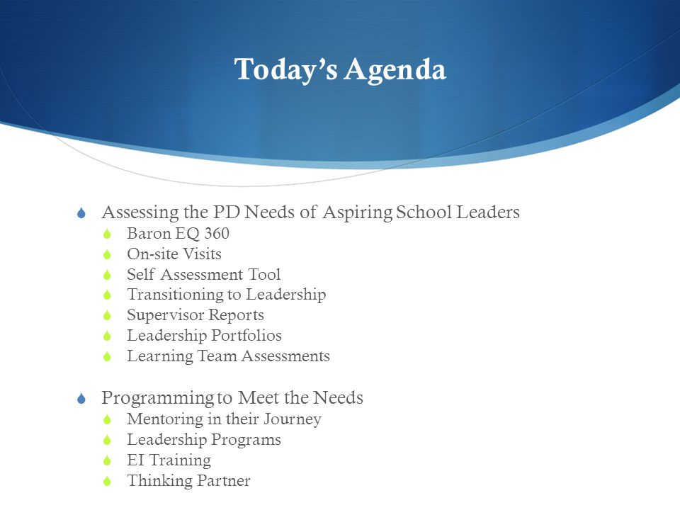 Today's Agenda  Assessing the PD Needs of Aspiring School Leaders  Baron EQ 360  On-site Visits  Self Assessment Tool  Transitioning to Leadership  Supervisor Reports  Leadership Portfolios  Learning Team Assessments  Programming to Meet the Needs  Mentoring in their Journey  Leadership Programs  EI Training  Thinking Partner