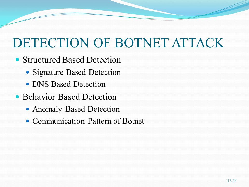 DETECTION OF BOTNET ATTACK Structured Based Detection Signature Based Detection DNS Based Detection Behavior Based Detection Anomaly Based Detection C