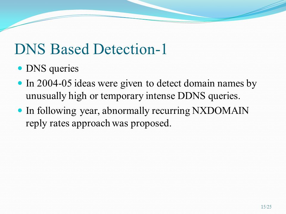 DNS Based Detection-1 DNS queries In 2004-05 ideas were given to detect domain names by unusually high or temporary intense DDNS queries. In following