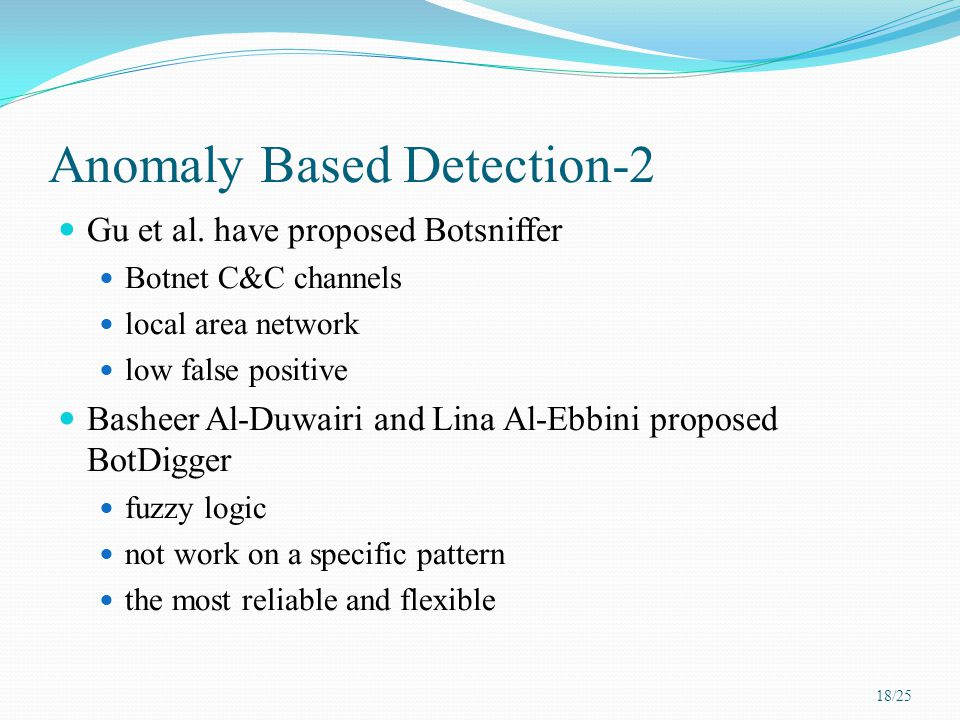Anomaly Based Detection-2 Gu et al. have proposed Botsniffer Botnet C&C channels local area network low false positive Basheer Al-Duwairi and Lina Al-