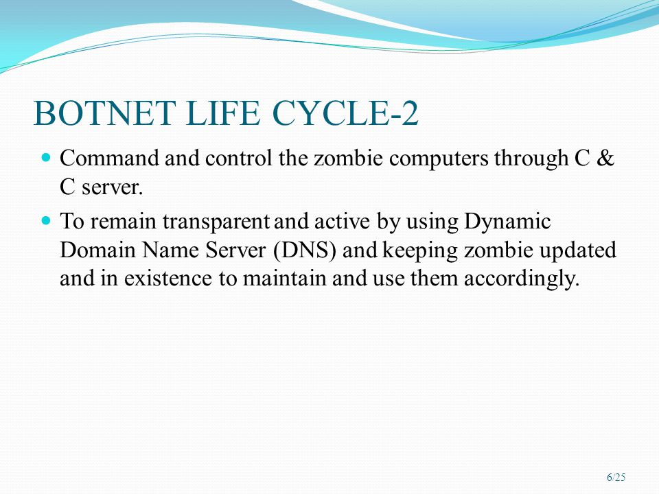 BOTNET LIFE CYCLE-2 Command and control the zombie computers through C & C server.