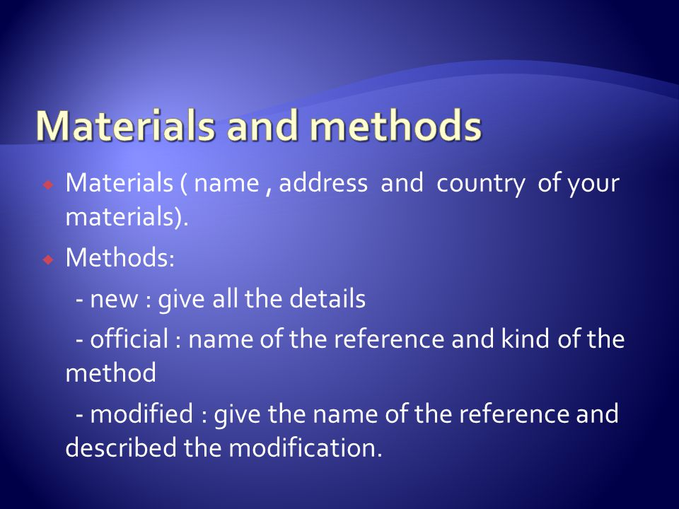  Materials ( name, address and country of your materials).