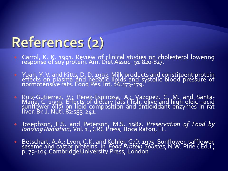  Carrol, K. K. 1991. Review of clinical studies on cholesterol lowering response of soy protein.