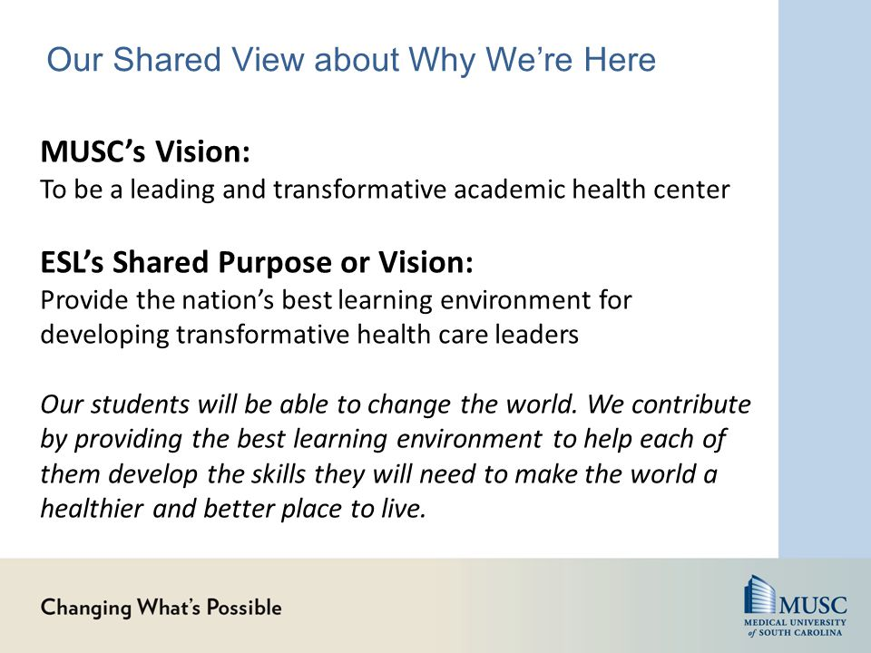 Our Shared View about Why We're Here MUSC's Vision: To be a leading and transformative academic health center ESL's Shared Purpose or Vision: Provide