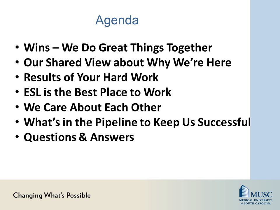 Agenda Wins – We Do Great Things Together Our Shared View about Why We're Here Results of Your Hard Work ESL is the Best Place to Work We Care About E