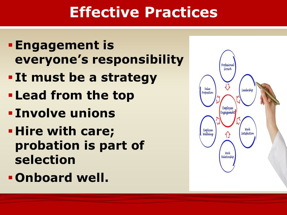 Effective Practices  Select supervisors who can supervise – and build engagement  Give them training, resources and support  Hold supervisors accountable for engagement