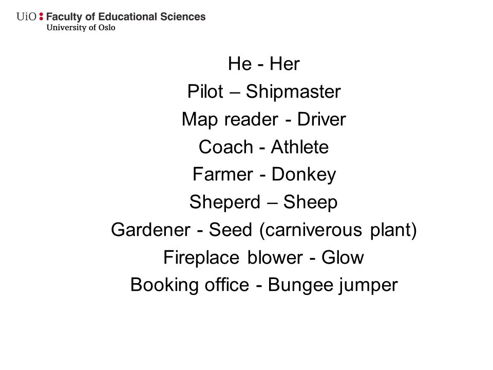 He - Her Pilot – Shipmaster Map reader - Driver Coach - Athlete Farmer - Donkey Sheperd – Sheep Gardener - Seed (carniverous plant) Fireplace blower - Glow Booking office - Bungee jumper