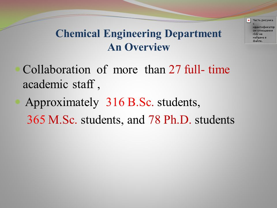 Chemical Engineering Department  Currently has 8 Educational Groups  Alumni play prominent roles in leading industries and government in Iran.