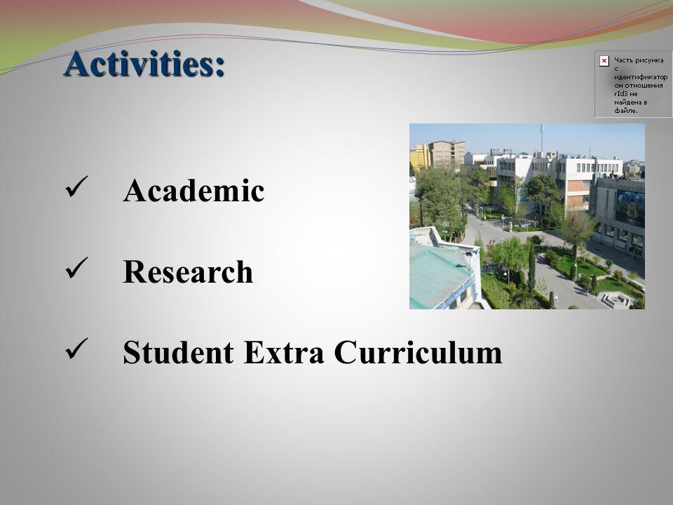 Academic Research Student Extra Curriculum Activities: