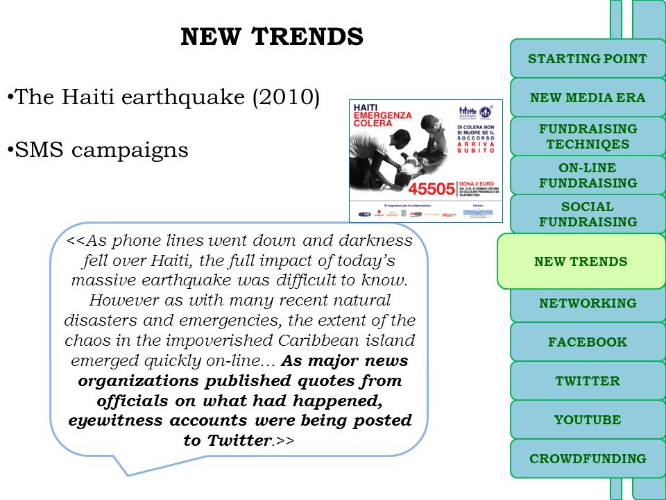 NEW TRENDS The Haiti earthquake (2010) SMS campaigns > SOCIAL FUNDRAISING NETWORKING ON-LINE FUNDRAISING STARTING POINT YOUTUBE FACEBOOK TWITTER FUNDRAISING TECHNIQES NEW MEDIA ERA NEW TRENDS CROWDFUNDING
